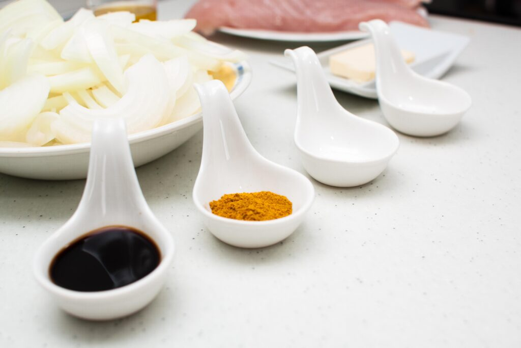 ingredientes que vamos a necesitar para la pechuga de pavo al curry